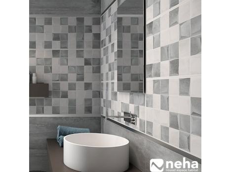 Faience murale effet petit cube décor salle de bain