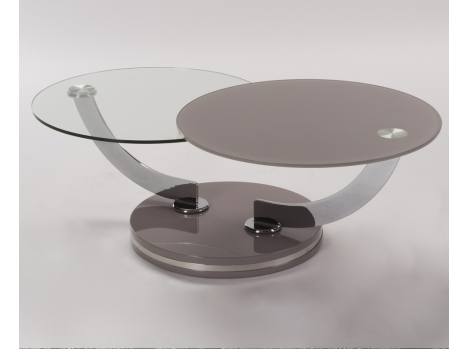 Grande Table salon ronde verre teinté taupe