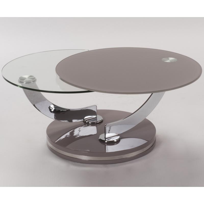 Table Salon Verre Design 2 Plateau Taupe Transparent Qualité Pas Cher
