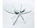 Table ronde design en verre et pied chromé