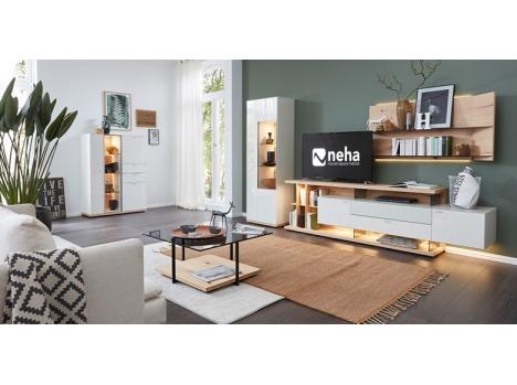 Meuble TV composable bois et laque