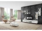 Grand composition télé avec meuble bas et étagères murales