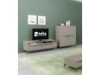 Meuble TV laqué gris avec tiroirs et niche