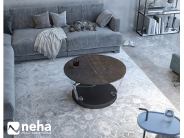 Table basse ronde avec plateau en céramique acier