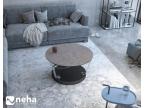 Table basse ronde avec plateau en céramique argile