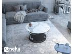 Table basse ronde avec plateau en céramique marbre mat