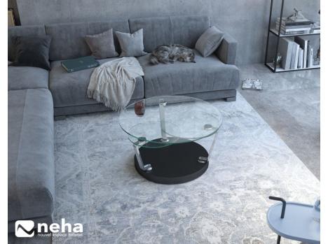 Table basse ronde avec plateau en verre
