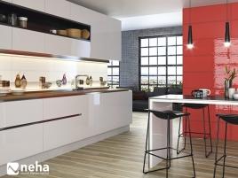 Cuisine avec mur en faience rouge brillant