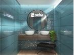 Salle de bain avec faience bleu brillant