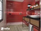 Salle de bain avec Faience rouge brillant