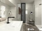 Salle de bain blanche et noir luxueuse