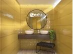 Salle de bain faience jaune unie et décor chromé