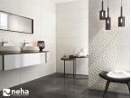 Salle de bain avec faience mat gris à relief