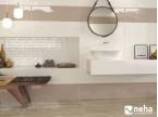 Salle de bain faience taupe et beige 85x25cm