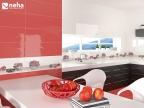Mur et crédence de carrelage rouge pour cuisine