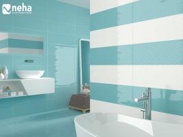 Salle de bain carrelage et faience bleu et blanc 85x25cm