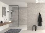 Salle de bain avec Faience relief épi grise 120x40cm
