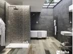 Salle de bain avec Faience relief épi oxyde industriel 120x40cm