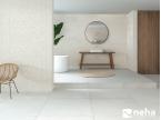 Salle de bain avec Faience relief épi blanche 120x40cm