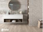 Salle de bain avec Faience relief épi gris et bois 120x40cm