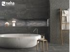 Salle de bain avec Faience relief épi gris anthracite 120x40cm