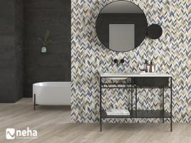 Salle de bain avec Faience relief épi multicouleur et faience anthracite 120x40cm