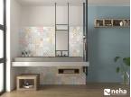 Salle de bain avec Faience effet carreaux de ciment coloré et bleu