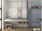 Salle de bain Faience effet carreaux de ciment coloré et lavande