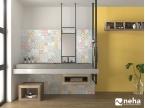 Salle de bain jaune avec faience carreaux de ciment