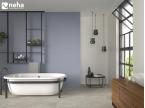 Salle de bain avec faience lavande violet losange