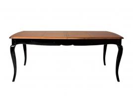 Table rectangulaire style baroque meurisier massif piètement noir