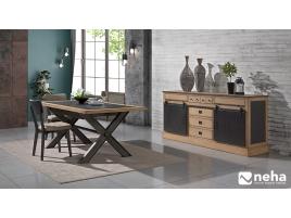 Table de salle à manger bois métal céramique industrielle