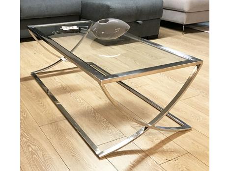 Table salon verre et nickel
