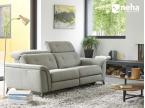 Canapé tissu fixe gris avec têtière amovibles