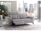 Canapé tissu gris capitonné avec relaxation