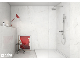 Salle de bain avec carrelage blanc veiné poli brillant