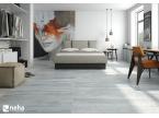 Chambre avec carrelage gris nuancé