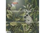 faience décorative tropic jungle vert toucan