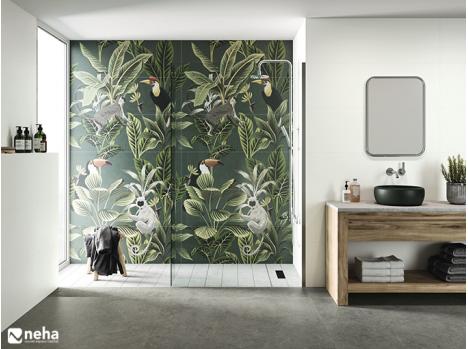 Salle de bain avec faience décorative tropic jungle vert