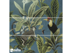 Faience décorative tropic jungle bleu singe