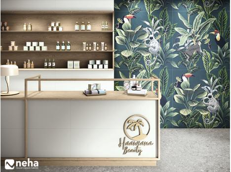 Faience décorative tropic jungle bleu
