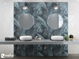 Salle de bain avec faience décorative tropic jungle bleu