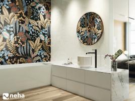 Salle de bain avec faience décorative forest noire