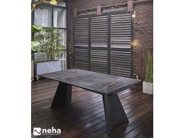 Table salle à manger plateau céramique marbre noir