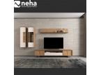 Meuble Tv laque blanche et bois avec étagère et rangement