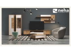 Ensemble TV avec meuble de rangement et étagère bois et laque