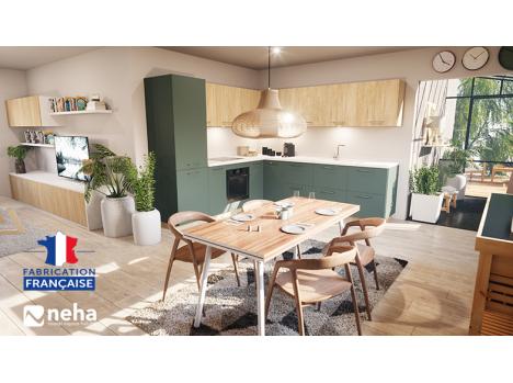 Cuisine laque verte et meuble haut bois chêne