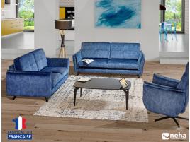 Canapé tissu bleu personnalisation
