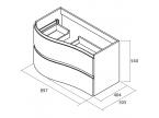 Meuble salle de bain incurvé dimensions