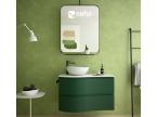 Meuble salle de bain incurvé vert mat